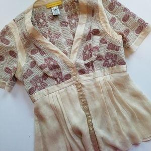 Catherine Malandrino Embroidered Silk Blouse